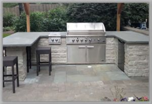 metric concrete patio and outdoor kitchen